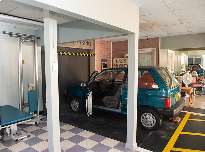 car inside facility