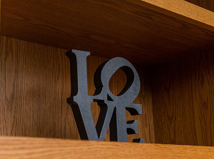 love sign on shelf