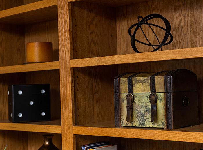 trinkets in a bookshelf
