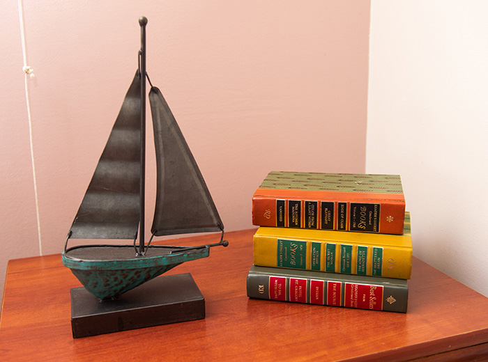 books next to a boat