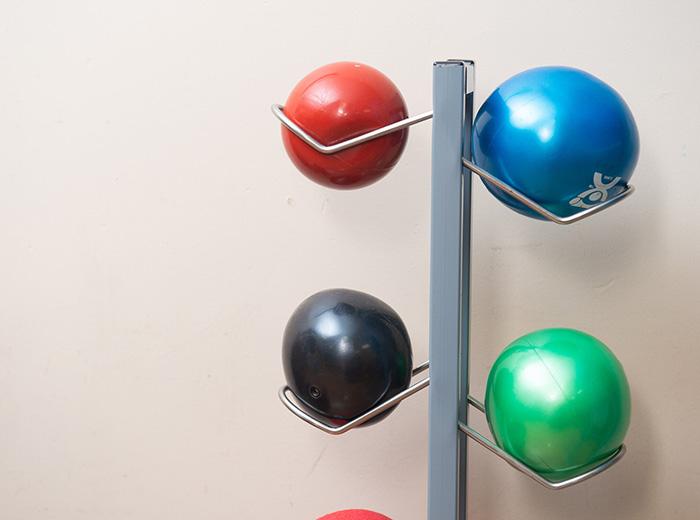 exercise balls inside facility