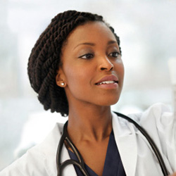 female medical professional administering and IV