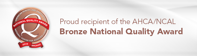 Proud recipient of the AHCA/NCAL Bronze National Quality Award logo