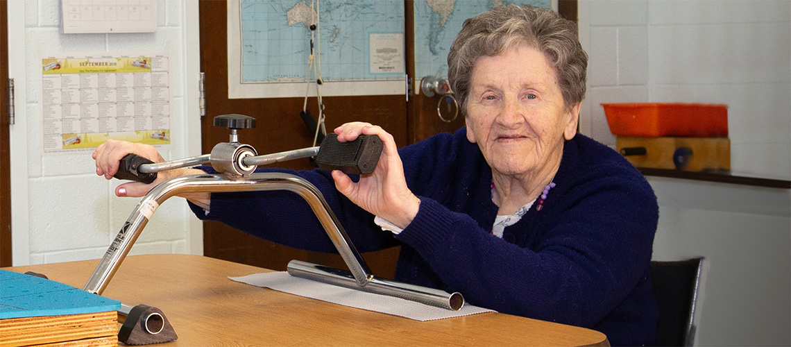 A woman working on her range of motion