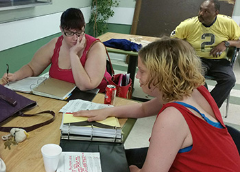 Students working on homework together