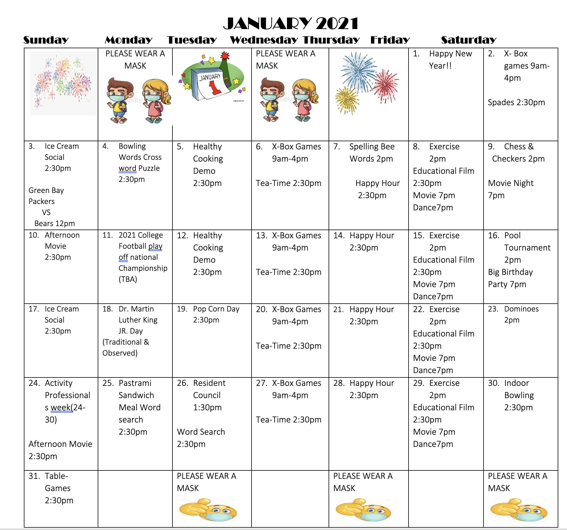 Grasmere Big Calendar For January
