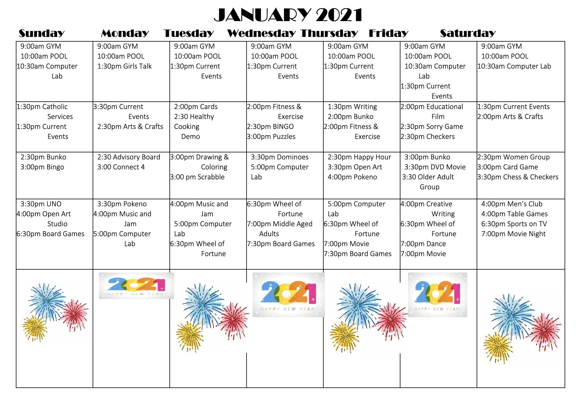 Grasmere Place Small January Activity Calendar