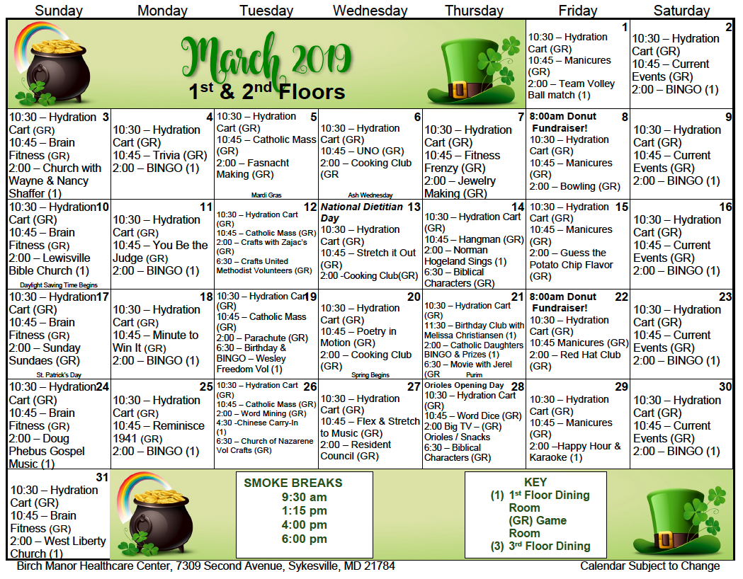 1 and 2nd floor March calendar