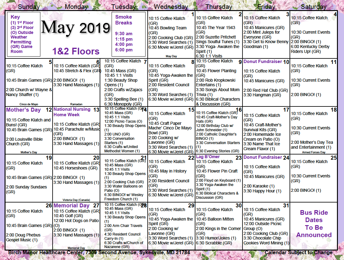 1st and 2nd floor May 2019 calendar