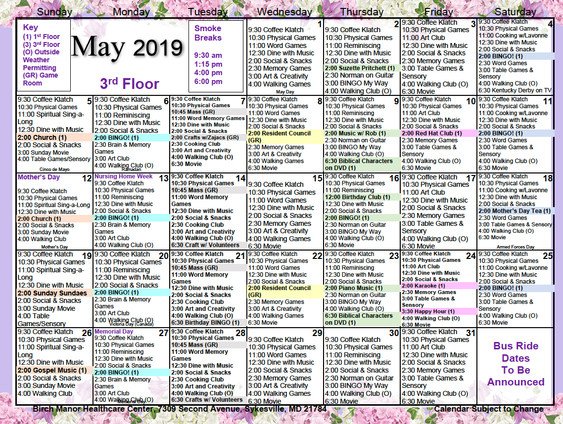 3rd floor May 2019 calendar
