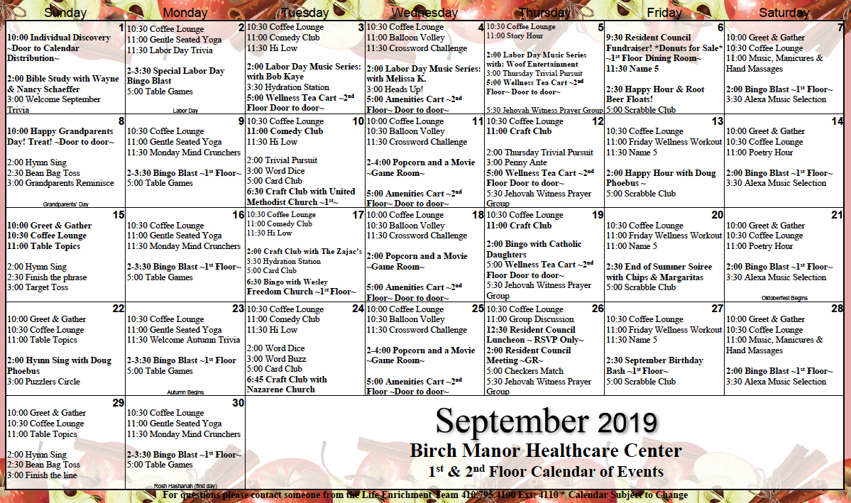 Birch Manor 1st and 2nd Floor September calendar