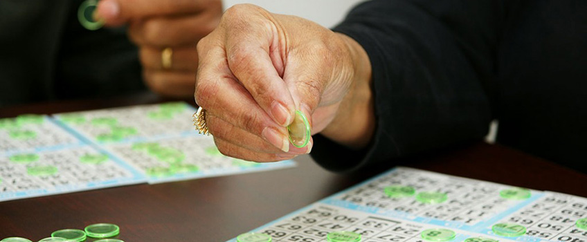Patient playing bingo