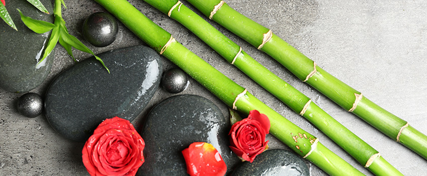 Bamboo, smooth rocks and roses