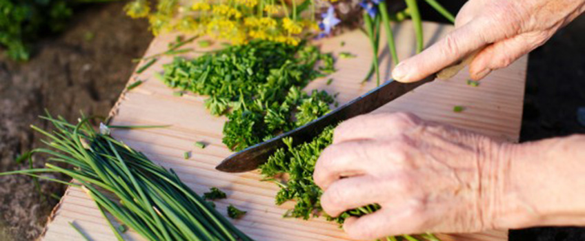 Hands cutting fresh herbs on a cutting board.