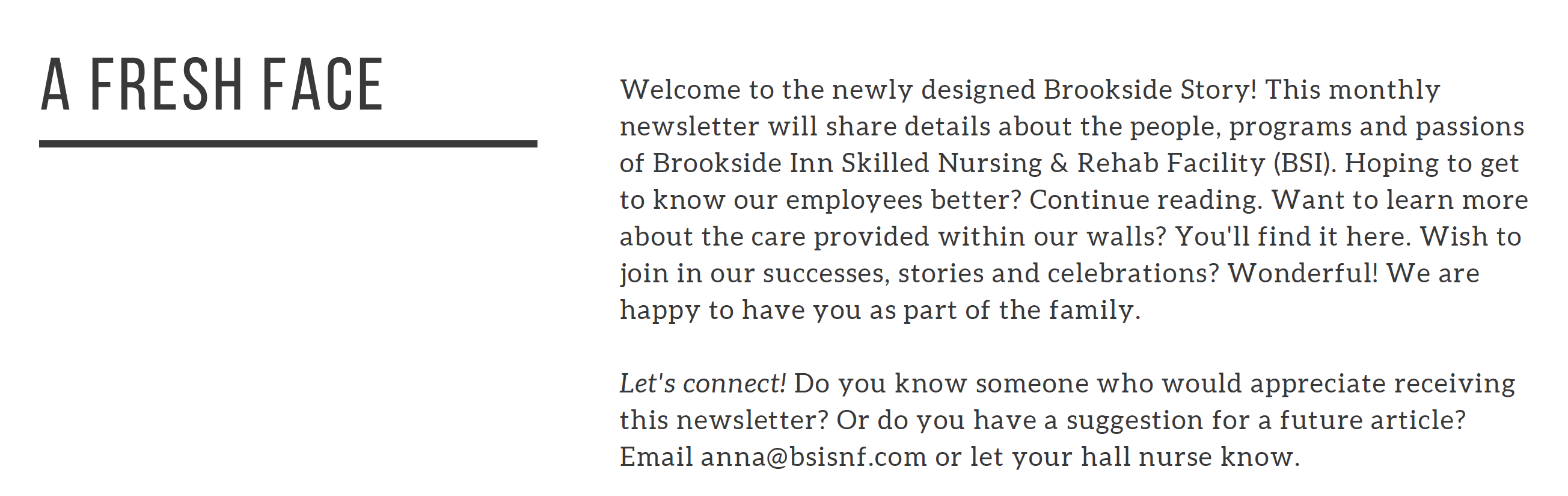 A fresh face - welcome to the newly designed Brookside Inn.