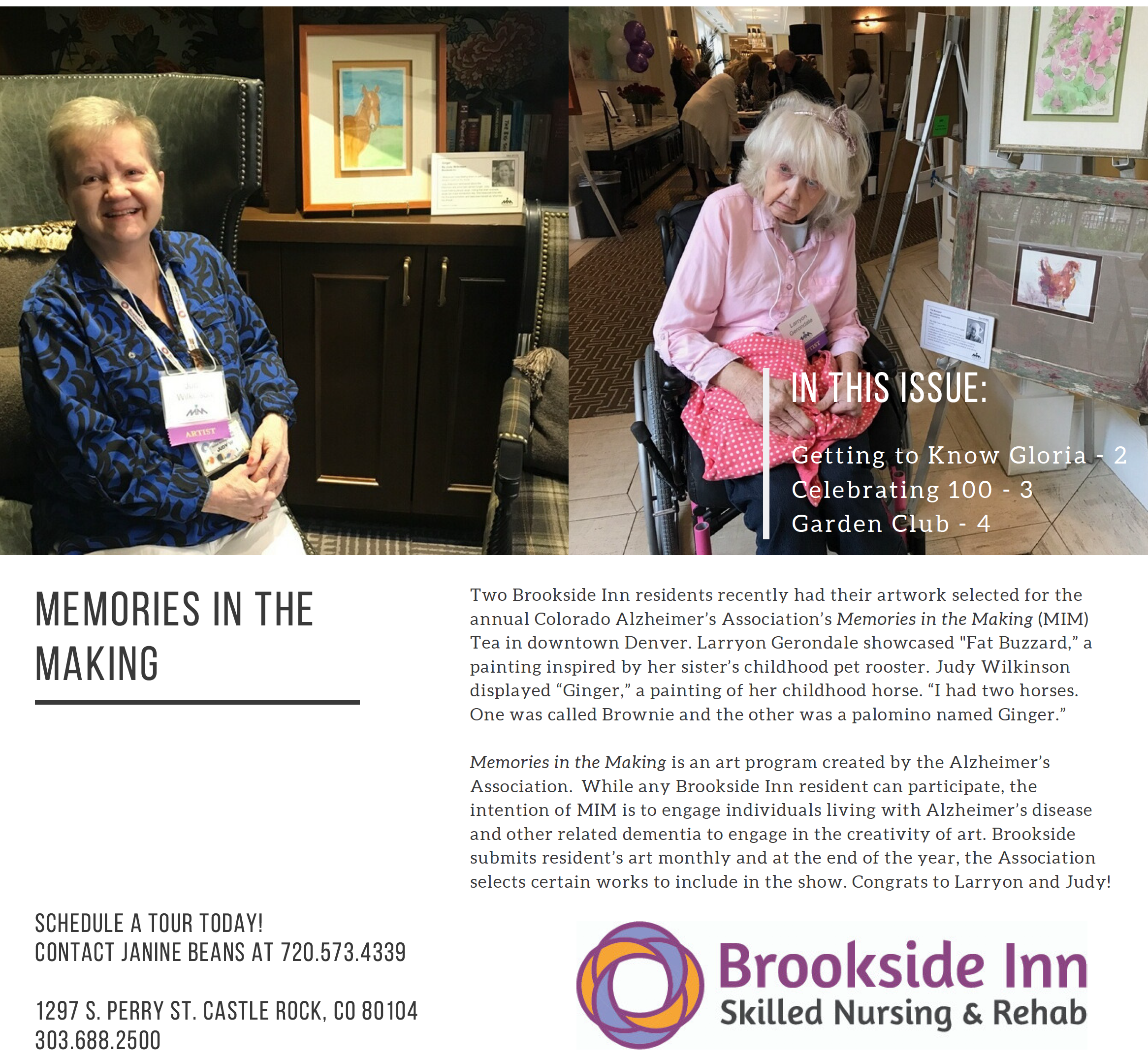 Page 1 - Memories in the Making with two Brookside Inn residents who had their artwork selected for the annual Colorado Alzheimer's Association.