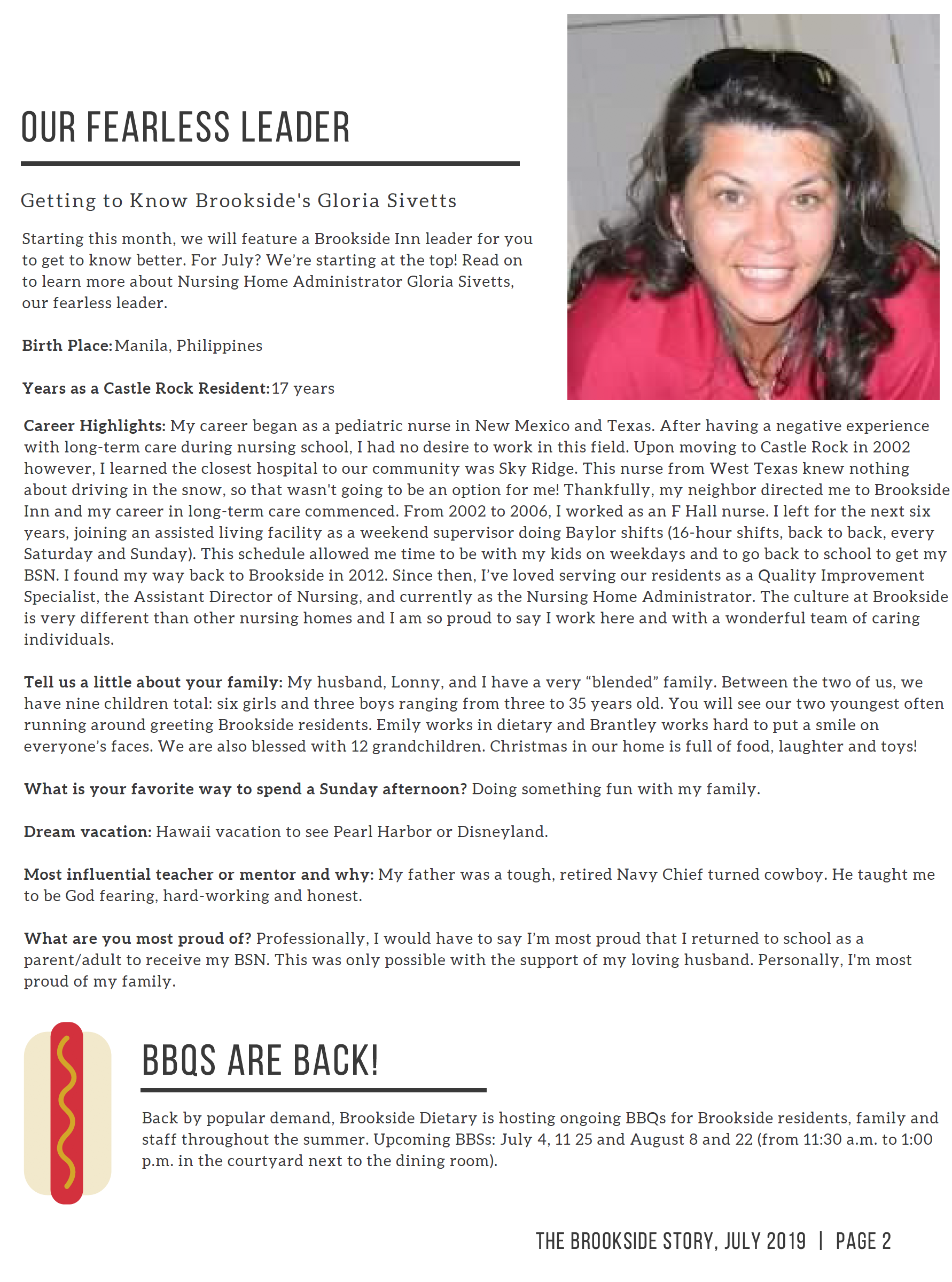 Page 2 - All about Gloria Sivetts, Nursing Home Administrator.