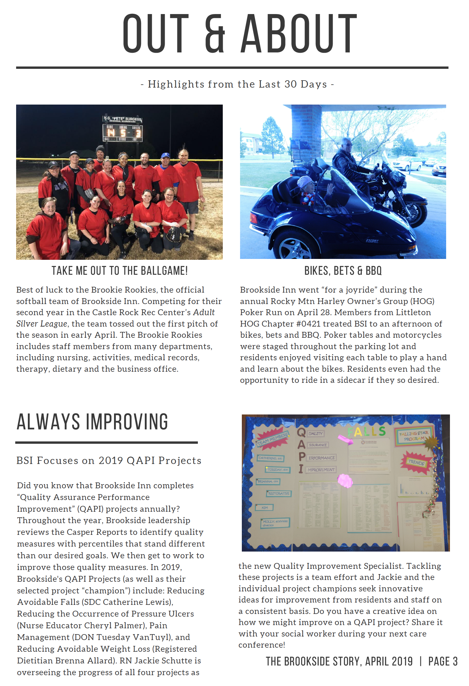 Page 3 describing the residents out and about at a ball game and on a bike ride.