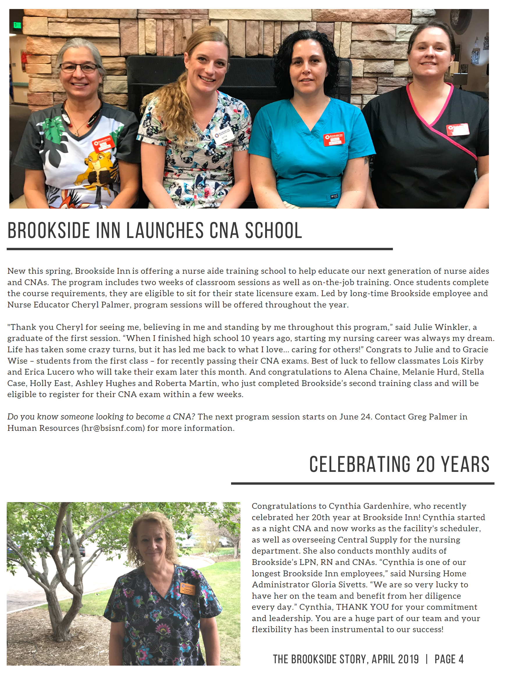 Page 4 Brookside Inn launches a CNA school and is Celebrating some staff that have been with Brookside Inn for 20 years!