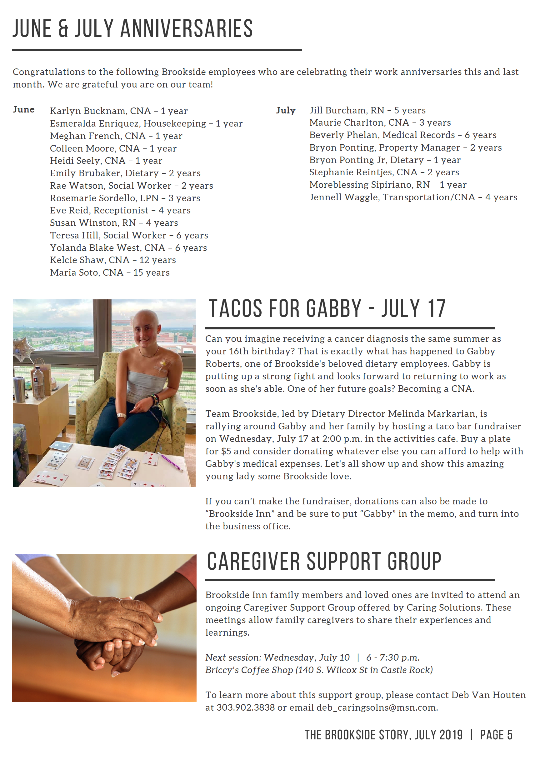 Page 5 - June and July Anniversaries, Taco fundraiser for Cancer patient, Gabby and Caregiver support group July 10th session at 6pm.