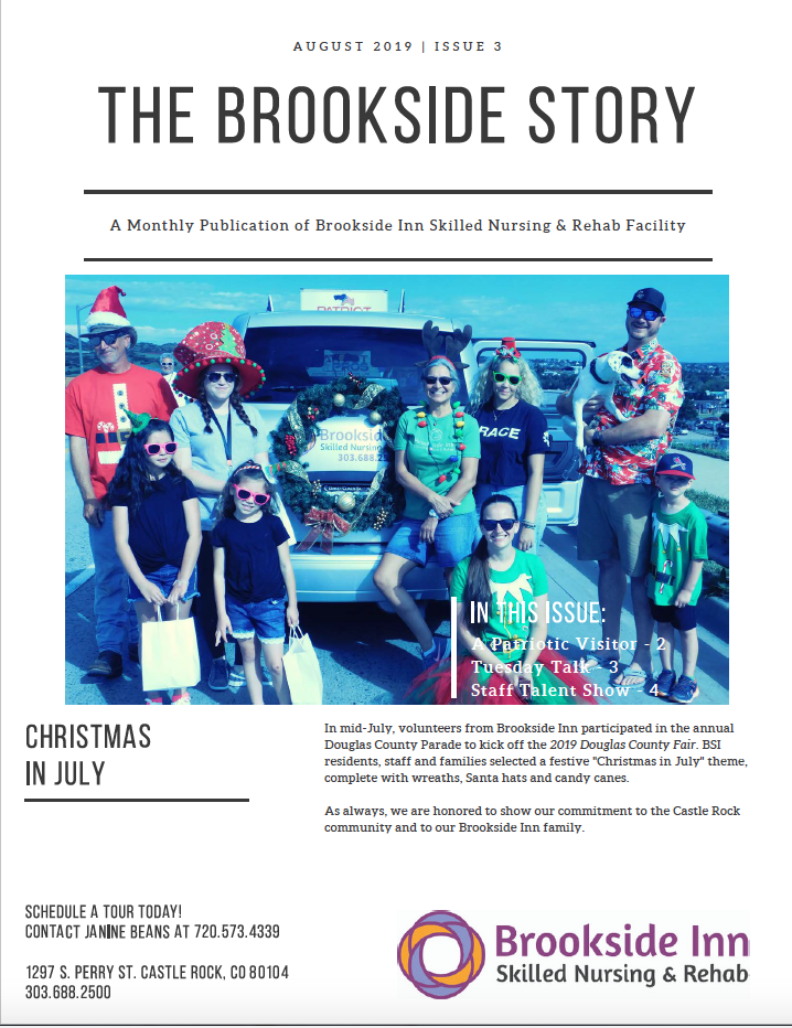 Brookside Inn August Newsletter Page 1