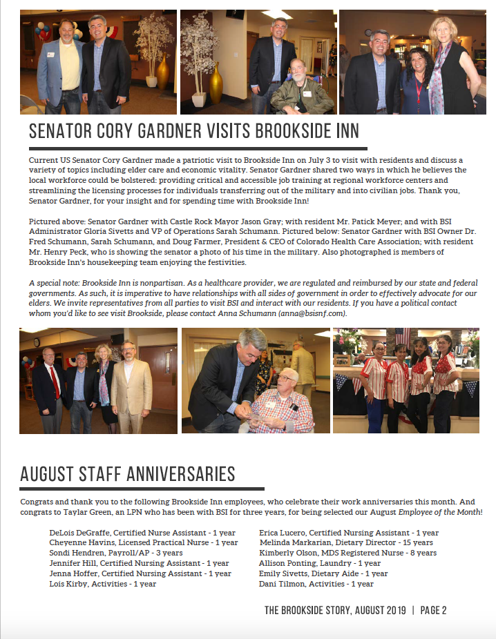 Brookside Inn August Newsletter Page 2