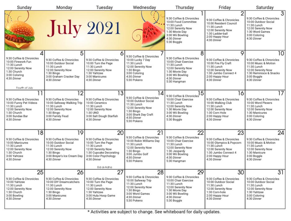 Brookside Inn July Calendar