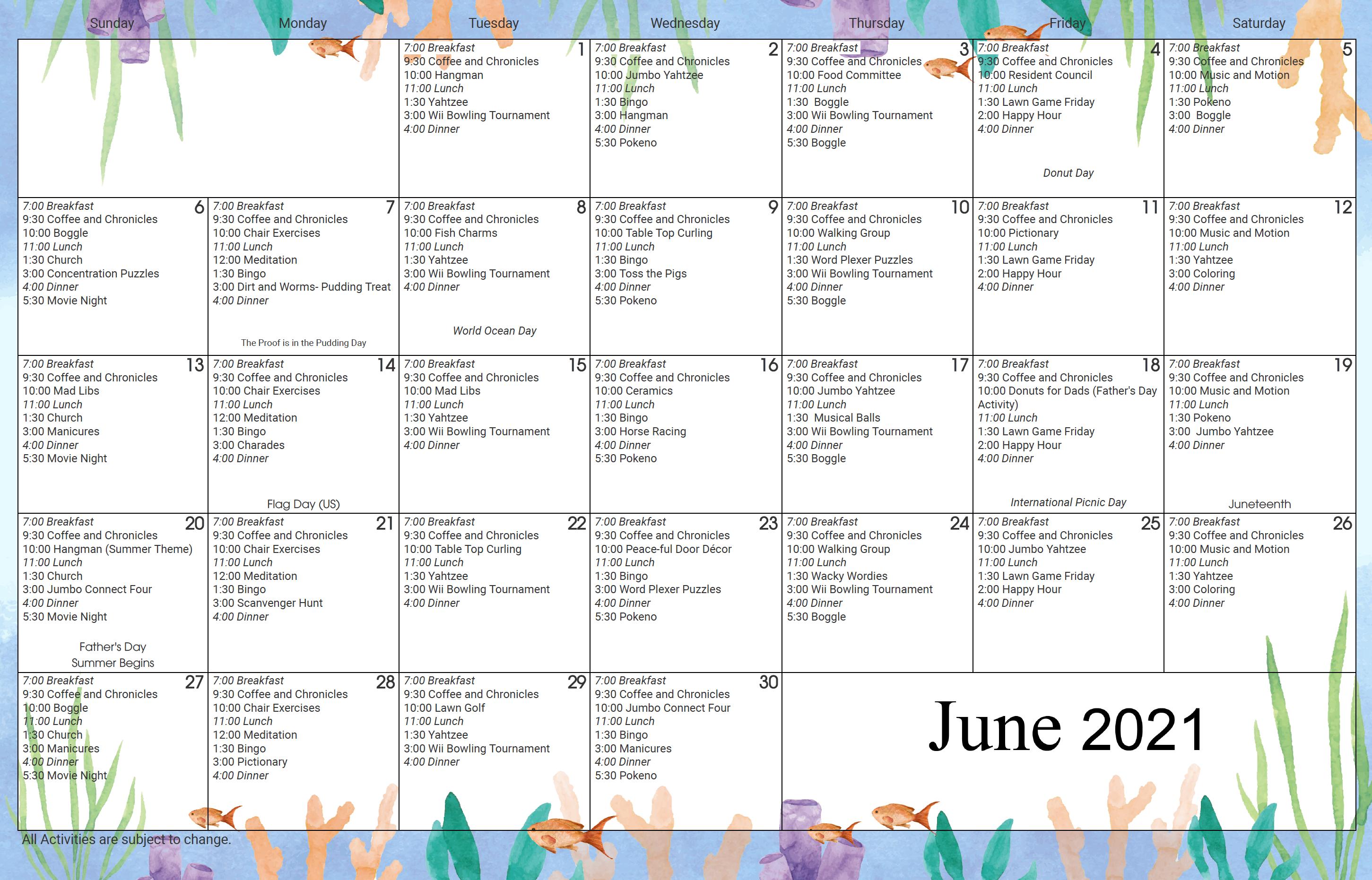 Brookside Inn June Activity Calendar