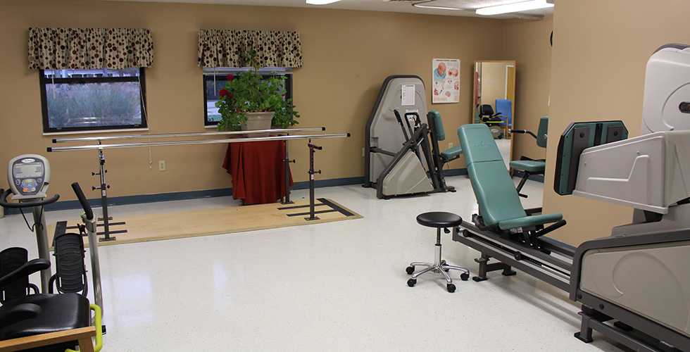 Rehabilitation gym with organized and clean equipment
