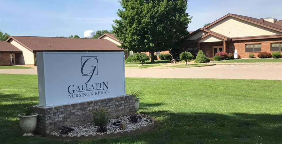 Gallatin Nursing and Rehab center sign in front of the building