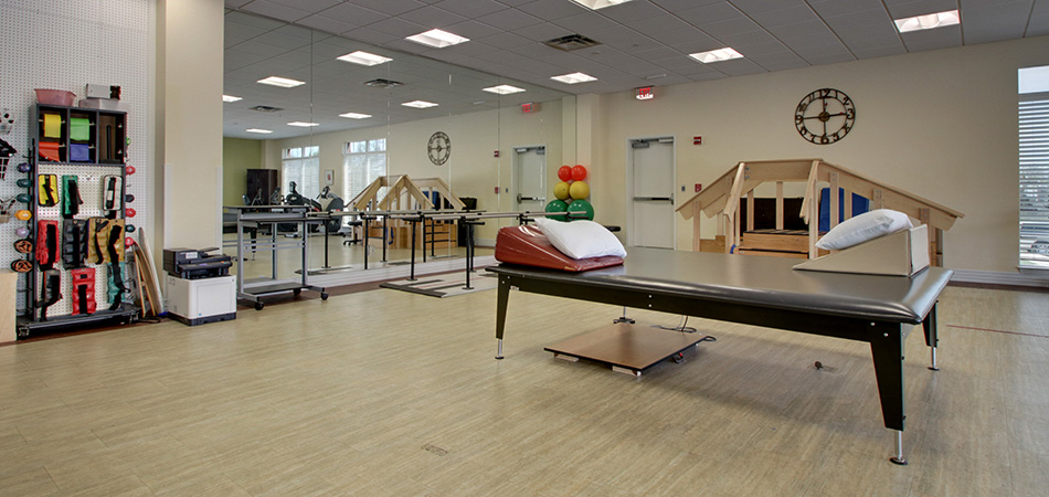 Well organized and clean rehabilitation room with the most modern equipment
