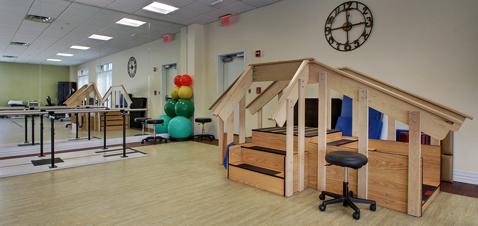 Rehabilitation therapy room with modern and clean equipment
