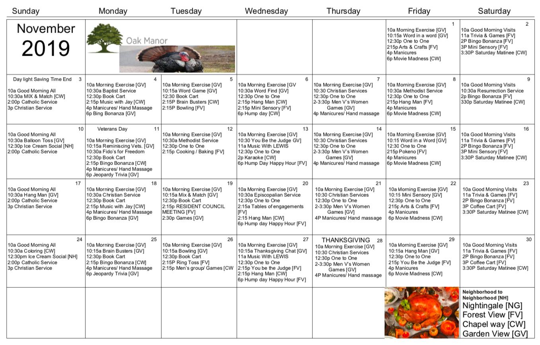 November 2019 activity calendar for Oak Manor residents