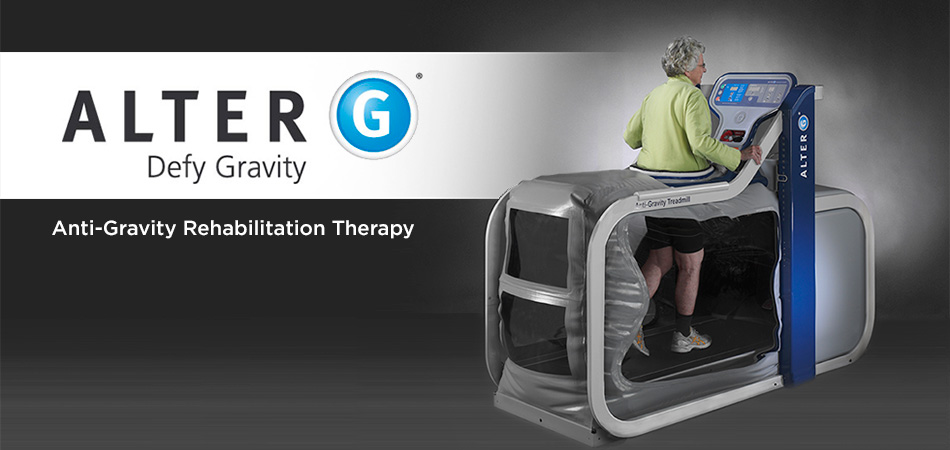 elderly woman in an anti-gravity treadmill