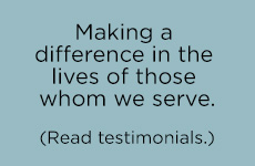 Making a difference in the lives of those we serve testimonials button