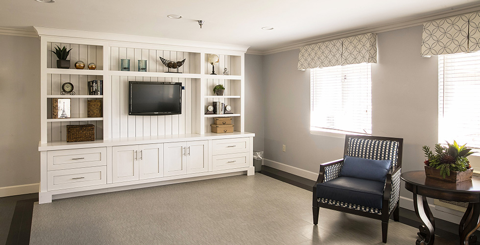 TV area with beautiful white shelving and drawers and modern seating