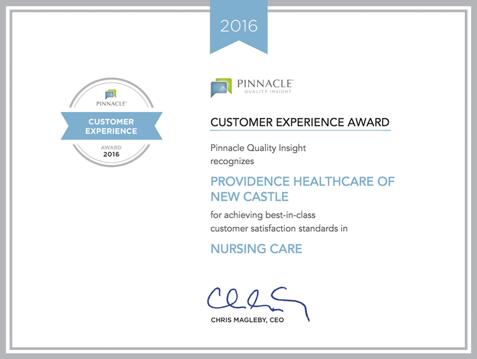 Customer Experience Award from Pinnacle in 2016