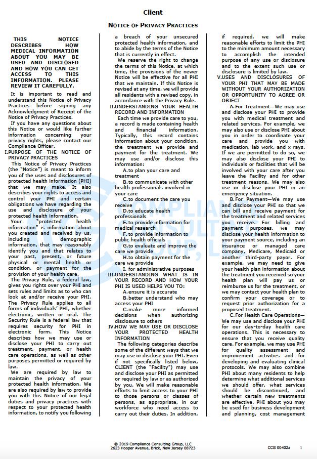 HIPPA Privacy Policy pg 1