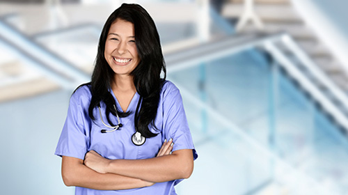 smiling nurse with a stethoscope