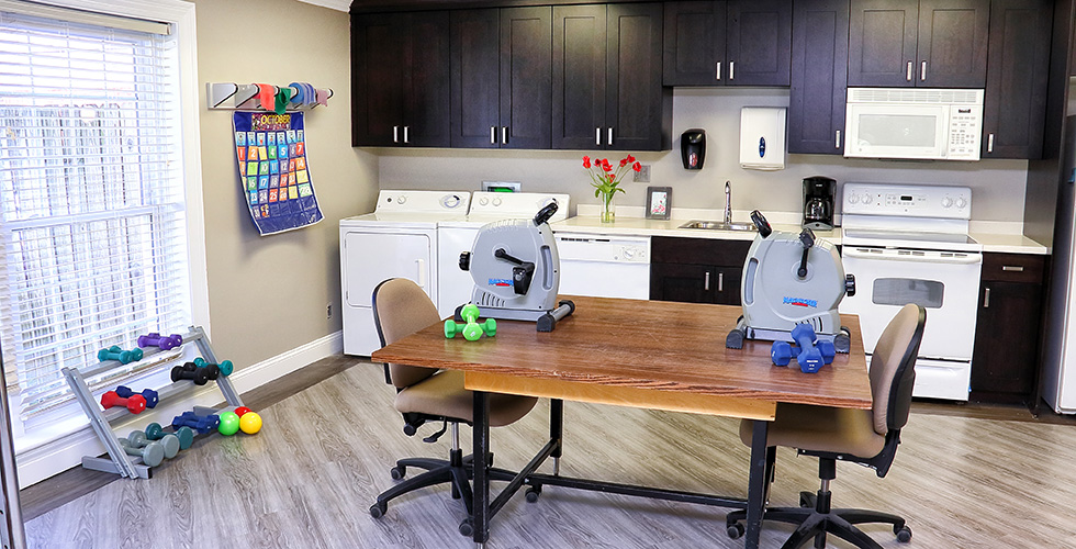 therapy room with laundry