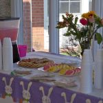easter cookies, flowers and pink punch for the party
