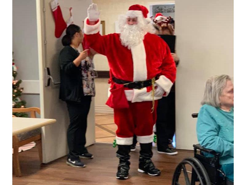 Santa visiting the residents.