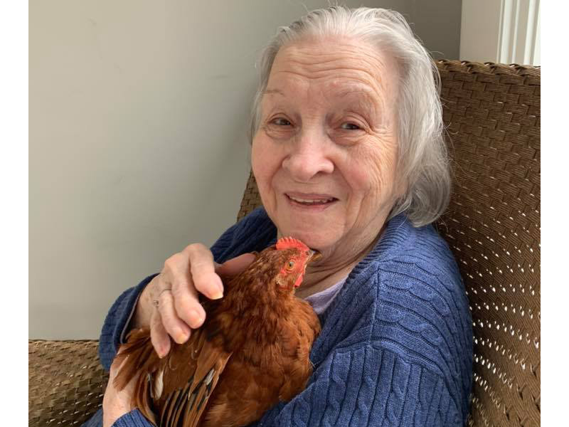 A resident holding a chicken.