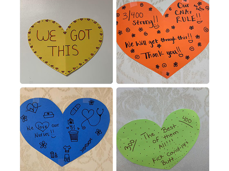 Hearts that have words of encouragement for the staff and residents.