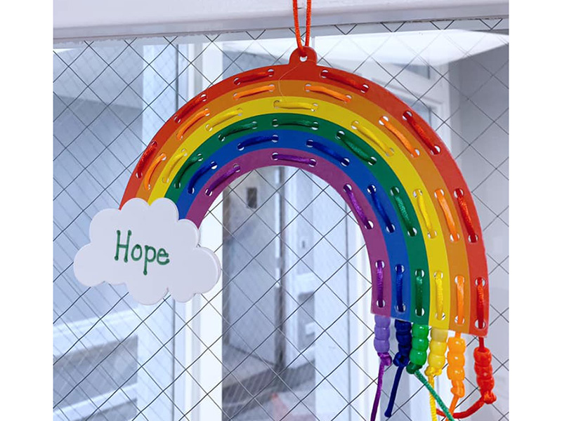 A hope rainbow hanging in the facility.