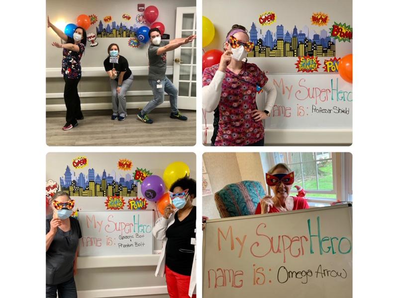 Staff members dressed up as super heroes!