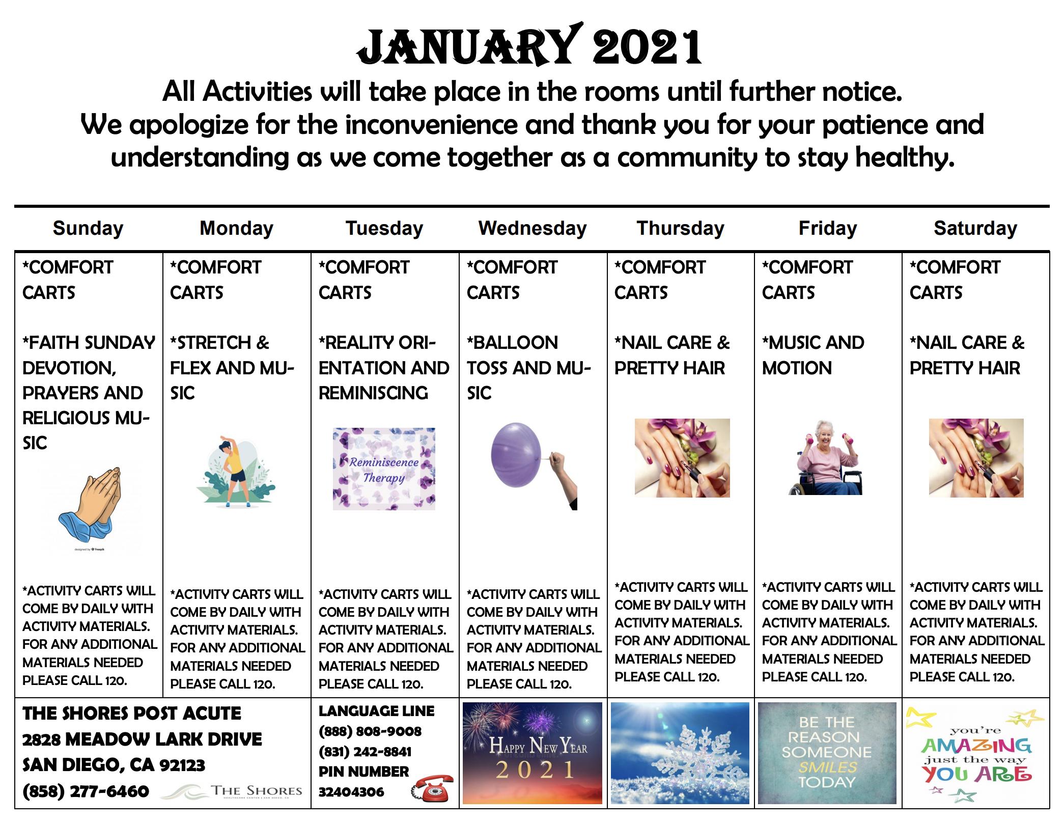 The Shores January Calendar