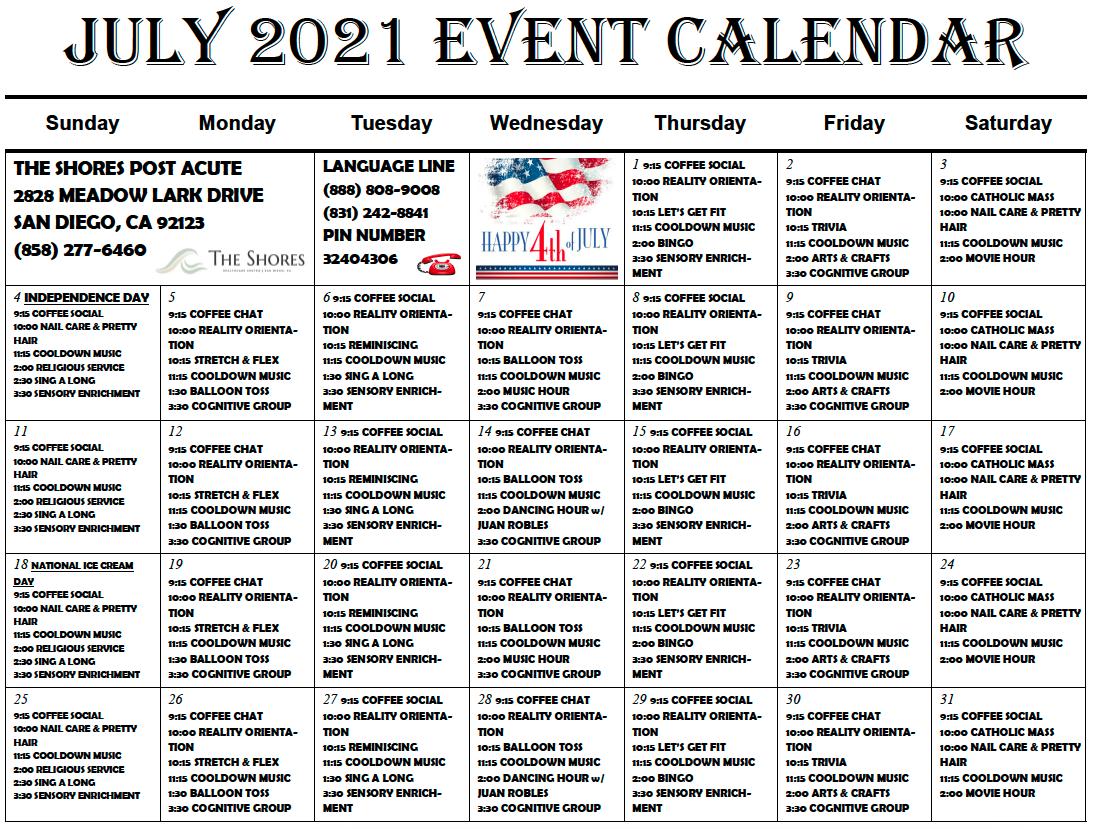 Shores Post Acute Station 1 July Calendar