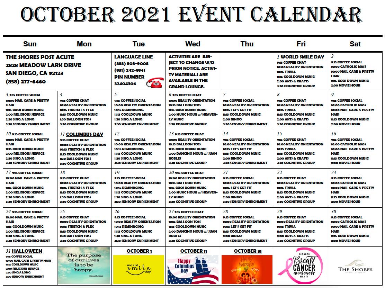 Download a pdf of our September Station 1 activity calendar.
