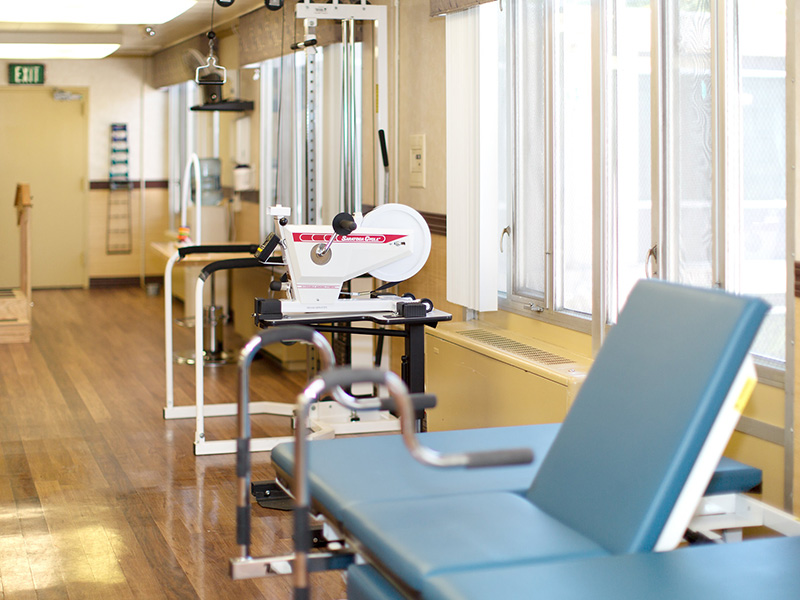 Rehabilitation physical therapy room